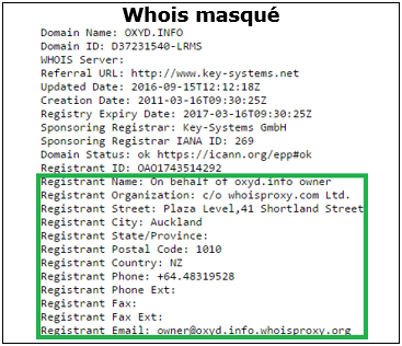Masquage whois - OXYD